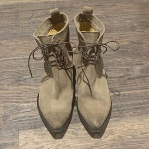 Frye ankle boots in tan suede